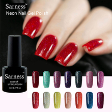 sarness 8ml UV Gel Nail Polish Bling Neon Color Gel Lak lucky glitter Color Varnish Soak Off Vernis Semi Permanent cheap Gel