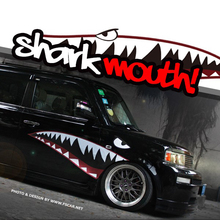 1 Pair Shark Mouth Teeth Cool Reflective Fashion Car Auto Decal Sticker Side Body SUV Van Truck Pick Up Universal Car-Styling