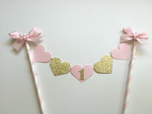 Glitter Gold Baby Girl First Birthday Party Cake Decoration Pink Heart Cake Topper with Bowknot