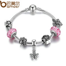 BAMOER Fashion Silver Color Dazzling Daisy Pendant Clear CZ Pink Glass Beads Bracelets & Bangles for Women DIY Jewelry PA1910