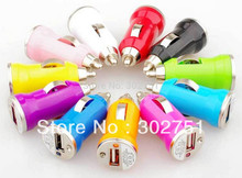 500pcs freeshop mix color car cigarette lighter for iphone iphone 3G iphone 3GS PDA iphone4 4s mini Mobile phone USB Car Charger