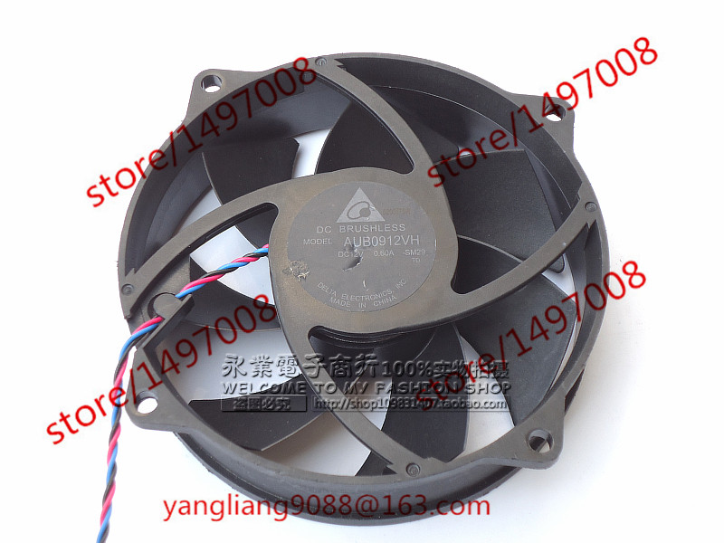 Free Shipping For Delta AUB0912VH, -SM29 DC 12V 0.60A 3-wire 100mm 92x92x25mm  Server Round Cooling fan<br>