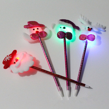 Cartoon Santa Claus Christmas Tree ballpoint pen with LED Flash light for Christmas gifts blue ink school supplies random style(China)