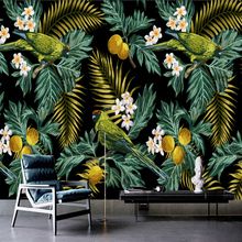Custom 3D Mural Tropical Rain Forest Parrot Coconut Leaf Wall Painting Living Room TV Background Wallpaper Papel De Parede Sala(China)