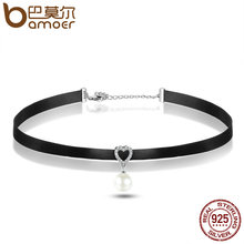 BAMOER 925 Sterling Silver & Black Braid Heart Pendant with Clear CZ Choker Necklace For Women Chocker Colar Jewelry SCN070(China)