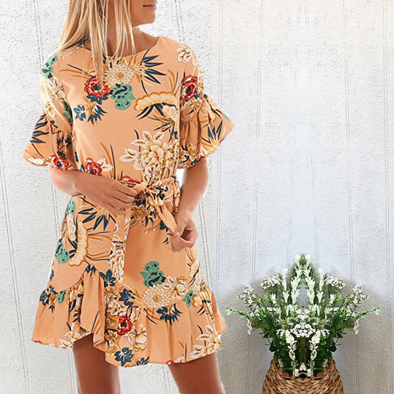Lossky Summer Women Beach Dress 2018 Bohemian Floral Print Boho Dress O-Neck Short Sleeve Ruffle Mini Chiffon Dress With Belt 29