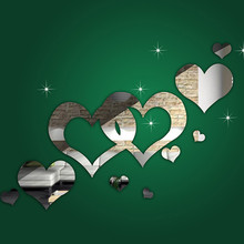 1PC Lovely Silver Mirror Hearts wall sticker Decals Decoration Wallpaper Art 3D DIY Wall Stickers Living Room Home Decor(China)
