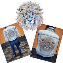 2017 NEW patch for clothing folk-custom lion 25*24.6cm T-shirt Dresses Sweater thermal transfer Printed A-level Washable Sticker