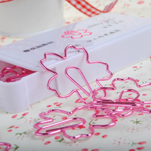 Office Supplies Accessories Pink Sakura Clip Creative Metal Stationery Clip Bookmarks Cute Clips Office Accessories Paper Clips