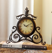 Creative desk clock Brief antique style metal table clock wrought iron watch home furnishing decorative ornaments Free shipping