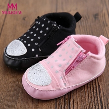 2017 Baby Crib Shoes Toddler polka dot Garden Garden shoes Soft Sole Zipper Sneakers Casual comfortable Cotton Fabric Shoes(China)