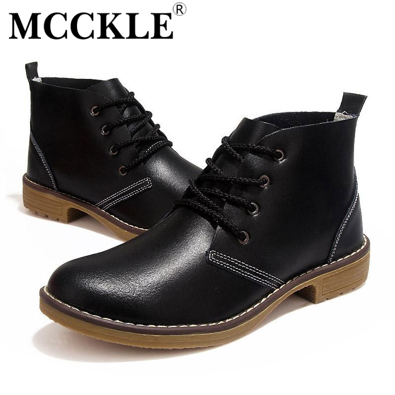 MCCKLE Woman fashion  Motorcycle Ankle Boots Genuine Leather lace up vogue Casual Shoes For Woman Vintage High Top J4359<br><br>Aliexpress