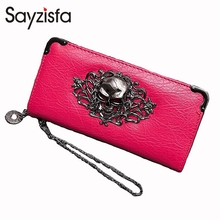 Sayzisfa 2018 new long ladies wallet large-capacity retro punk wallet metal bracelet skull wallet Raindrop Patter wrist bag T564(China)
