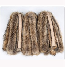 female natural fur collar hoody trim real raccoon fur neck warmer for coat autumn winter hooded fur trim parkas warmer scarf