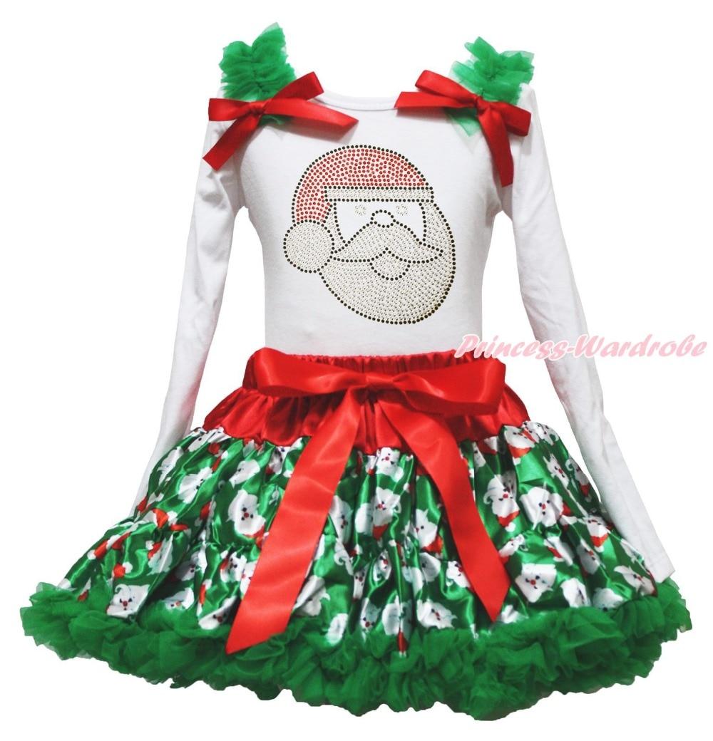 Xmas Rhinestone Santa Claus White Top Green Skirt Girls Clothing Outfit Set 1-8Y<br>