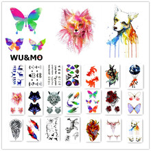 Body Art Temporary Tattoo Sticker Gradient Colorful  Animals fox Dogs Artificial Flowers Glitter Tatoo Sticker