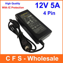 1pcs AC DC 12V 5A 4 Pin Power Adapter Supply 60W Switch 4-Pin For LCD TV Monitor Laptop Charger With IC Chip(China)