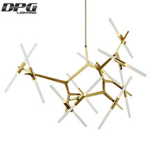 Roll Hill Black Gold Modern Art Pendant Light with Aluminum 6 10 14 20 heads for Dinning Room Living Room Office Meeting room(China)