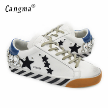 CANGMA Italy Original Diamond Shoes Women Genuine Leather Crystal Superstar Woman Casual White Handmade Shoes Vrouwen Schoenen
