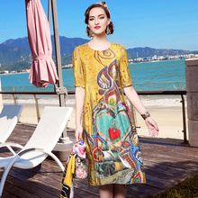 High Quality Natural Silk Women Dresses To Go Freestyle Plus Size Digital Printed Beautiful And Elegant