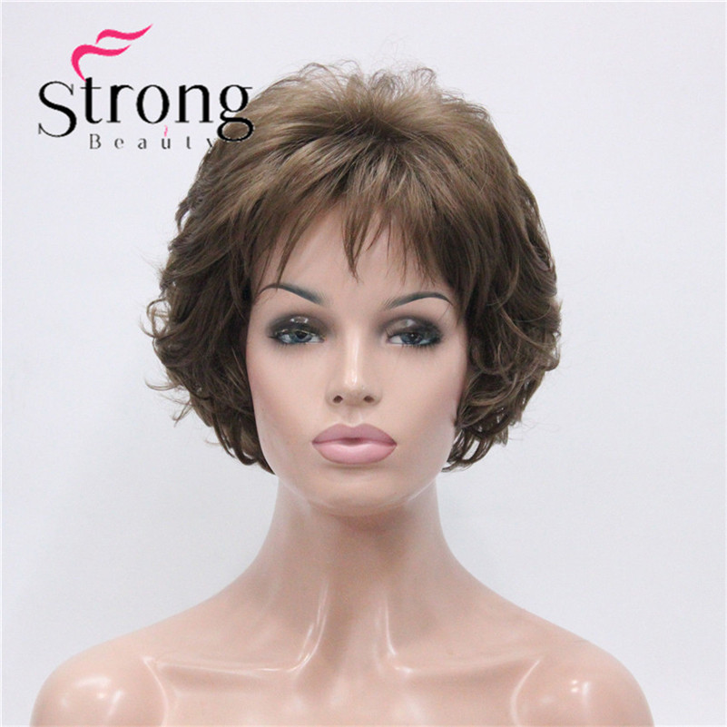 E-7125 #12New Wavy Curly Wig Light Reddish Brown Short Synthetic Hair Full Women's Wigs (2)