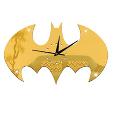 Bat Shape 45*25CM Wall Clock Acrylic Mirror 3D Clocks Home Decoration Europe Design DIY Clock Wall Art Kids Room Decor P5
