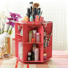 Wooden 360 Degrees Rotatable Jewelry Makeup Cosmetics Jewelry Storage Box Case Organizer For Cosmetics The Dresser Desktop(China)