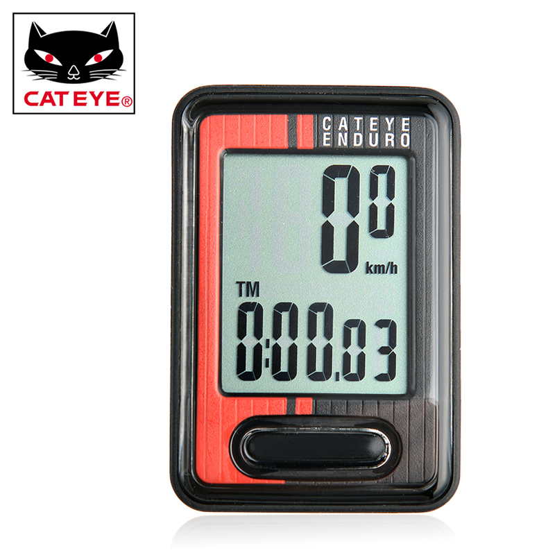 Original CATEYE Enduro Cycling MTB Mountain Bike Digital Computer Speedometer With Heavy Duty Wire Red ED400<br>