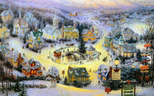 Thomas Kinkade Oil Paintings Character The town On Christmas Eve Art Decor Painting Print Giclee Art Print On Canvas