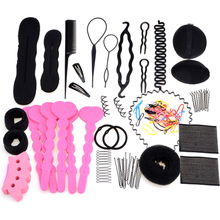 Women Girl Hair Styling Accessories Set 20 in 1 Styling Tools Magic Pin Hair Bun Maker Comb Wavy Hoop Gift Headwear(China)