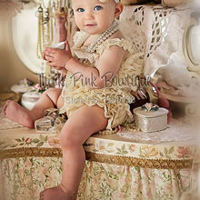SALE Cream Petti lace romper,girls lace romper Smash cake outfit, Ruffled romper(China)