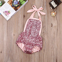 Newborn Infant Baby Girl Lace Tutu Romper Sequins Halter Jumpsuit Onesies Outfits 0-24M