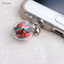 Universal Dust Plug Cute Little Glass Ball with Fruit 3.5mm Jack Earphone Headphone Cap Dustproof Plug for iPhone for Samsung