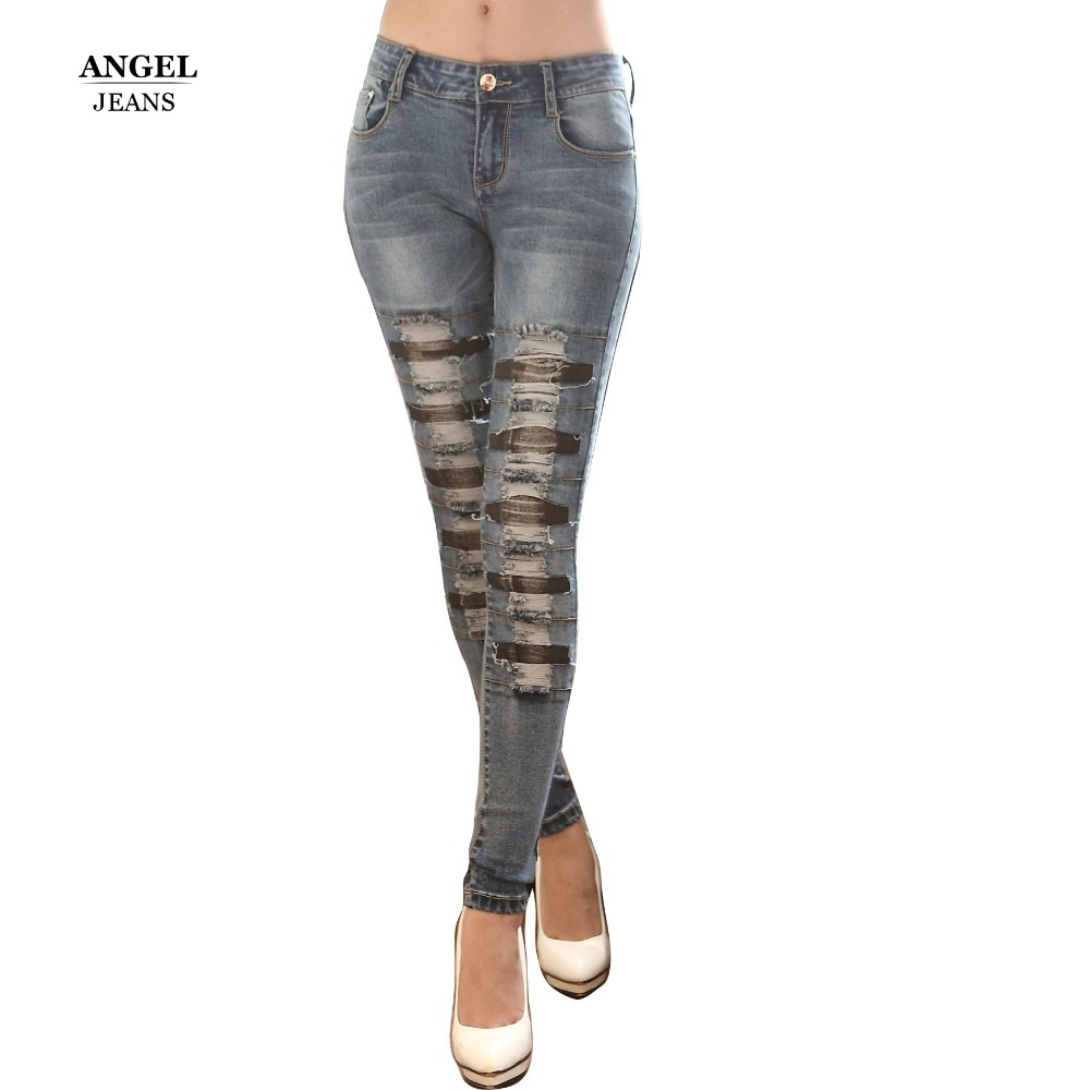 High Quality Promotion Womens Slim Mid Waist Boot Cut Jeans Fashion Bell Bottom Trousers Comfortable ripped Pants Free ShippingОдежда и ак�е��уары<br><br><br>Aliexpress