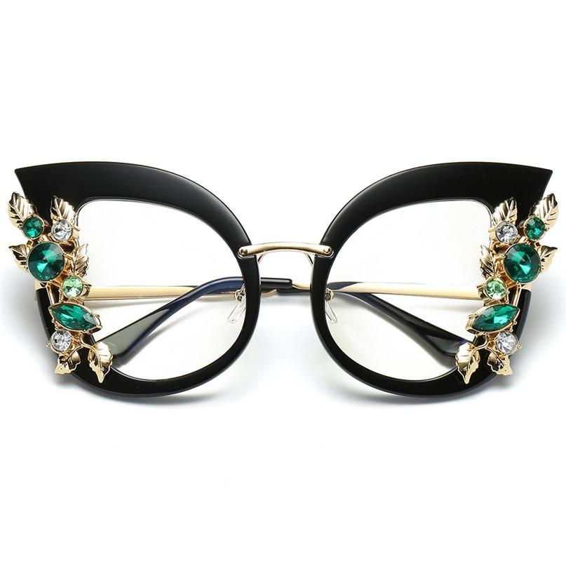 Sport Sunglasses Cycling Eyewear Womens Fashion Artificial Diamond Cat Ear Metal Frame Brand Classic Sunglasses #2J06#F (18)