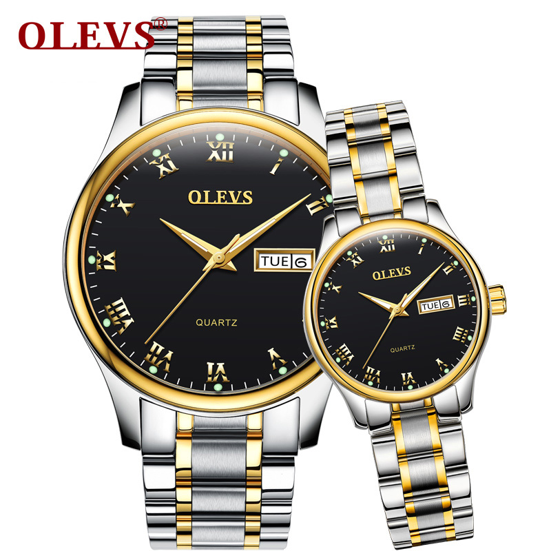 OLEVS Simple Lovers Couple Watches Top Brand Gold Color Dial Women Men Waterproof Wristwatch Romantic Clock Watch Christmas Gift<br>