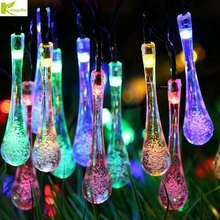 Kingoffer LED String Solar Lamps Water Droplets Type Waterproof 5M Garland Christmas Lights for Wedding Party Home Decoration