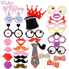 FENGRISE Birthday Photo Booth Props 16th 30th 40th 50th 1st Birthday Party Decoration Kids Baby Shower Favor Photobooth Supplies