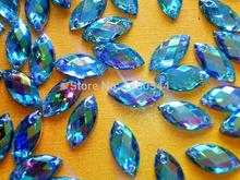 7*15mm Navette shape flatback  rhinestones Light Blue AB colour crystal gemstones strass hand sewing for dress 200pcs/lot