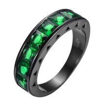 Vintage Hopeful Green Jewelry Green Zircon Wedding Ring Men Women Anel Aneis Fashion Black Gold Filled Engagement Rings RB0368