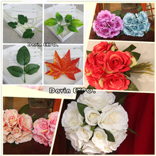 Lowest price New Arrival 50Pcs Green Artificial Silk Rose Fake Leaf Leaves Bouquet Garland Wedding Decor Home DIY Decoration