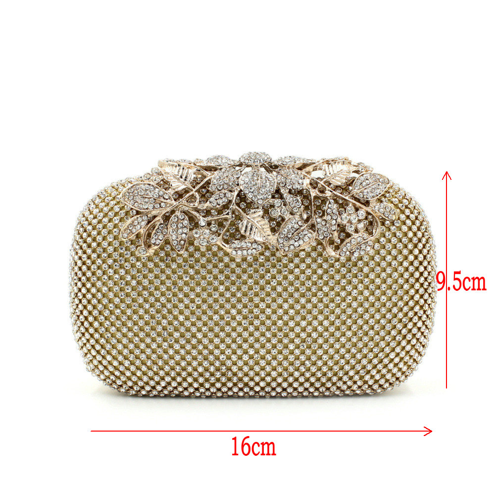 Flower Crystal Evening Bag Clutch Bags Clutches Lady Wedding Purse Rhinestones Handbags Silver Gold Black
