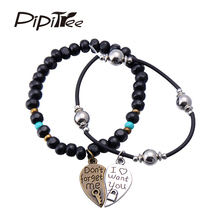 Vintage Style Couple Lovers' Heart Charm Bracelet Jewelry Retro Metal I want you Wood Bead Leather Bracelets for Men Women 2pcs
