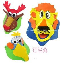 5 PCs Children 3D Eva cartoon animal hat / Kids 3D performance props cap puzzle for kindergarten and school educational toys