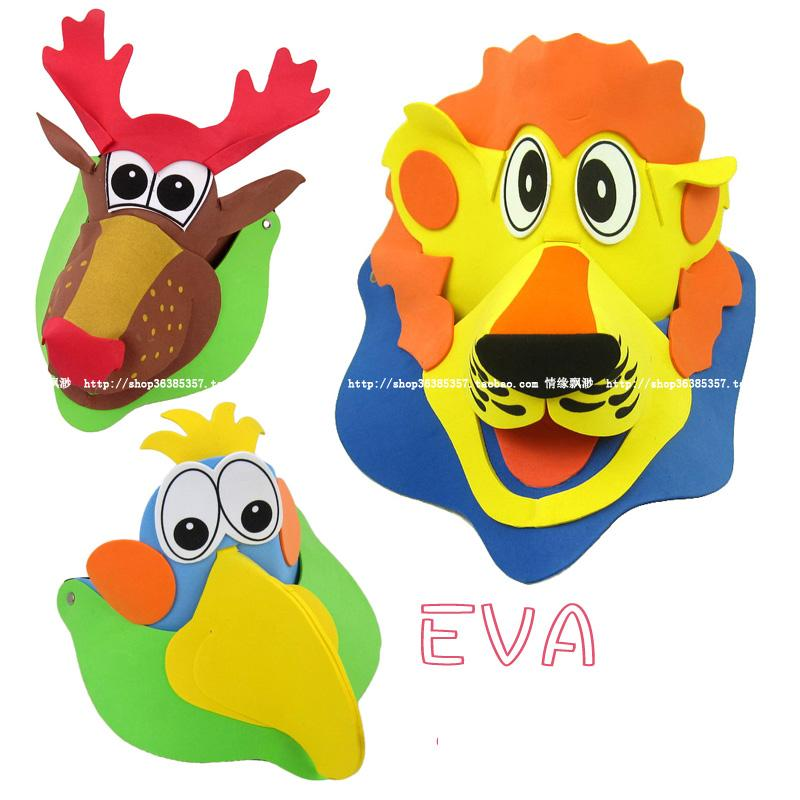 5 PCs Children 3D Eva cartoon animal hat / Kids 3D performance props cap puzzle for kindergarten and school educational toys(China (Mainland))