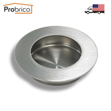 Probrico Stainless Steel Round Recessed Sliding Door Handlle MH005SS65 Kitchen Furniture Finger Pull USA Domestic Delivery(China)