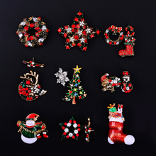 Gold glazed Snowman tree socks garland Costume Brooch Pins Rhinestone Christmas Brooches Lot Collar Clip For Scarf Buckle gifts(China)
