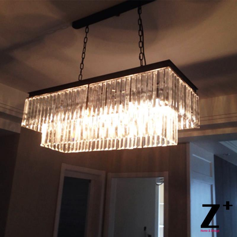 Replica Item Industrial Length 125cm 1920s Odeon Clear Glass Fringe Rectangular Chandelier Vintage K9 Re Crystal