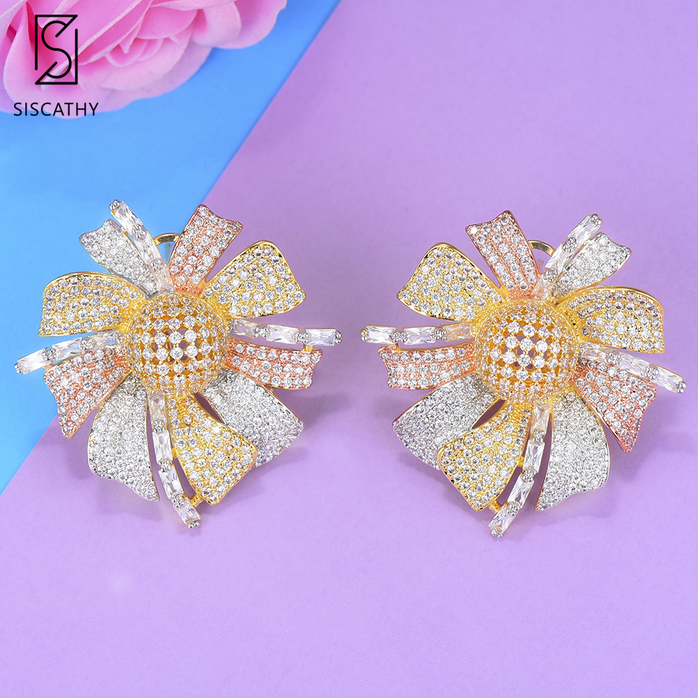 Siscathy Exquisite 3Tone Cubic Zirconia Stud Earring Girls Party Beautiful Women Flower Earrings Fashion Jewelry Accessories