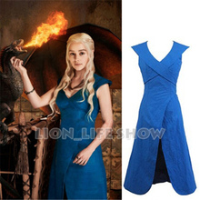 Blue Game of Thrones Daenerys Targaryen Dress S-XL custom size Cosplay Costume without cloak
